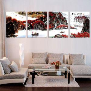 絵画 壁絵画時計 壁掛け時計 静音時計 アートパネル 壁飾り 山水 4pcs オシャレ