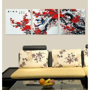 絵画 壁絵画時計 壁掛け時計 静音時計 アートパネル 壁飾り 紅梅 3pcs オシャレ