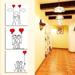絵画 壁絵画時計 壁掛け時計 静音時計 アートパネル 壁飾り カップル 3pcs オシャレ
