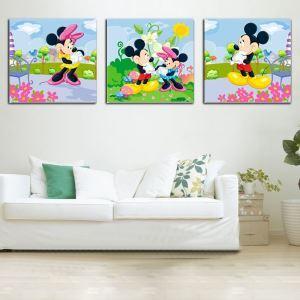 絵画 壁絵画時計 壁掛け時計 静音時計 アートパネル 壁飾り ミッキーマウス 3pcs オシャレ