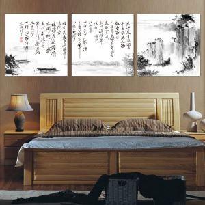 絵画 壁絵画時計 壁掛け時計 静音時計 アートパネル 壁飾り 山水 3pcs オシャレ