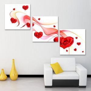 絵画 壁絵画時計 壁掛け時計 静音時計 アートパネル 壁飾り ローズ 3pcs オシャレ