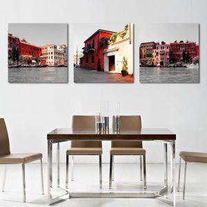 絵画 油彩画 アートパネル 装飾絵画 壁飾り 水都 プレゼント 3pcs オシャレ