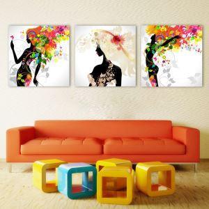 絵画 壁絵画時計 壁掛け時計 静音時計 アートパネル 壁飾り 少女 3pcs オシャレ