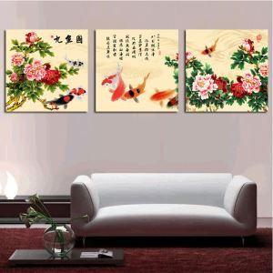 絵画 油彩画 アートパネル 装飾絵画 壁飾り 金魚 プレゼント 3pcs  オシャレ