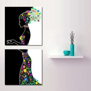 絵画 壁絵画時計 壁掛け時計 静音時計 アートパネル 壁飾り 花の妖精 2pcs オシャレ