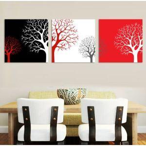 絵画 壁絵画時計 壁掛け時計 静音時計 アートパネル 壁飾り 樹 3pcs オシャレ