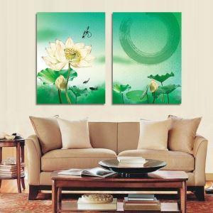 絵画 壁絵画時計 壁掛け時計 静音時計 アートパネル 壁飾り 蓮 2pcs オシャレ