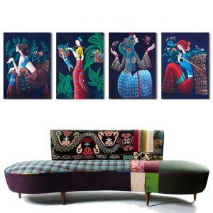 絵画 油彩画 アートパネル 装飾絵画 壁飾り 少女 プレゼント 4pcs  オシャレ