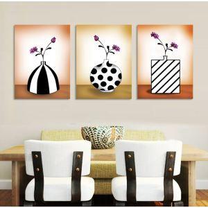 絵画 油彩画 アートパネル 装飾絵画 壁飾り 花瓶 プレゼント 3pcs オシャレ