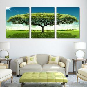 絵画 壁絵画時計 壁掛け時計 静音時計 アートパネル 壁飾り 大木 3pcs オシャレ