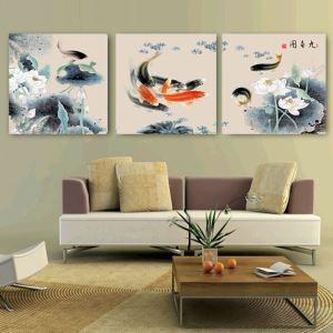 絵画 壁絵画時計 壁掛け時計 静音時計 アートパネル 壁飾り 金魚 3pcs オシャレ