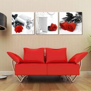 絵画 油彩画 アートパネル 装飾絵画 壁飾り バラ プレゼント 3pcs オシャレ
