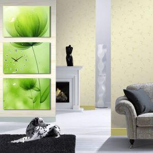 壁掛け時計 壁絵画時計 静音時計 キャンバス時計 壁飾り オシャレ 3枚パネル 花