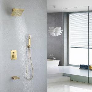埋込形シャワー水栓 シャワーシステム ヘッドシャワー+ハンドシャワー+蛇口 ヘアラインゴールド