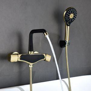 浴室シャワー水栓 バス蛇口 ハンドシャワー 水栓金具 混合水栓 2ハンドル付き 5色