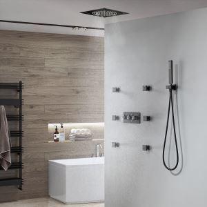 埋込形シャワー水栓 シャワーシステム マッサージスプレー付 混合栓 電源必須 多機能 黒色
