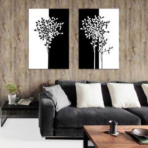 絵画 壁絵画時計 壁掛け時計 静音時計 アートパネル 壁飾り 樹 2pcs オシャレ