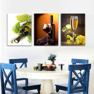 絵画 壁絵画時計 壁掛け時計 静音時計 アートパネル 壁飾り シャンパン 3pcs オシャレ