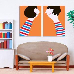絵画 壁絵画時計 壁掛け時計 静音時計 アートパネル 壁飾り カップル 2pcs オシャレ