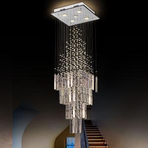 シーリングライト クリスタル照明 リビング照明 吹き抜け照明 天井照明 方形 豪華 オシャレ 5灯