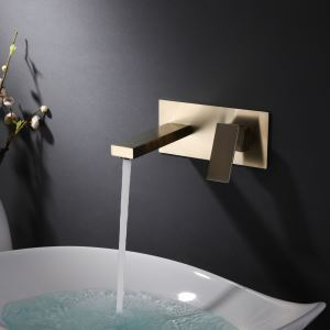 壁付水栓 洗面蛇口 バス水栓 水道蛇口 冷熱混合栓 2色