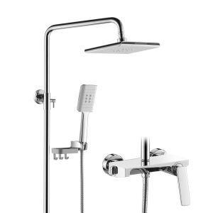 浴室シャワー水栓 シャワーシステム ヘッドシャワー+ハンドシャワー+蛇口 フック付き 2色