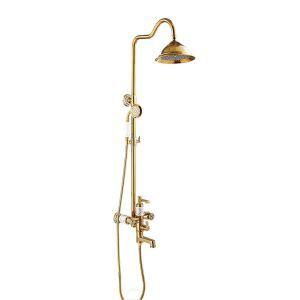 浴室シャワー水栓 レインシャワーシステム バス水栓 ヘッドシャワー+ハンドシャワー+蛇口 混合栓 金色