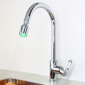LEDキッチン蛇口 引出し式水栓 台所水栓 冷熱混合栓 水道蛇口 クロム