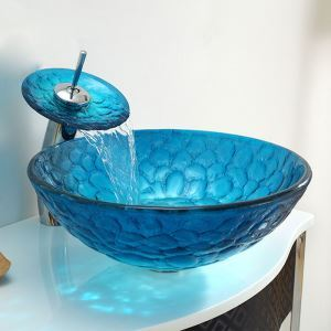 洗面ボウル&蛇口セット 手洗い鉢 洗面器 強化ガラス製 排水金具付 オシャレ 泡柄 青色 HAM009