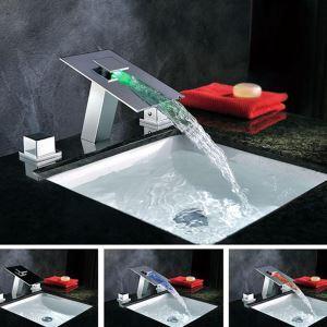 3色LEDバス水栓 洗面蛇口 冷熱混合栓 滝状吐水口 2ハンドル クロム 3点