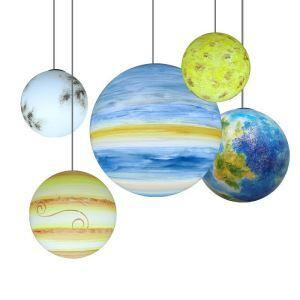 ペンダントライト 天井照明 リビング ダイニング 吹き抜け 子供屋 店舗 太陽系惑星柄 1灯
