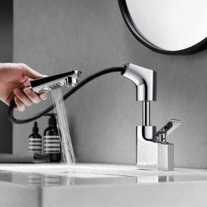 洗面蛇口 スプレー混合栓 洗髪用水栓 ホース引出式 水道蛇口 吐水口昇降 整流&シャワー吐水式 3色