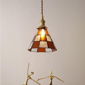 ペンダントライト 子供屋照明 玄関照明 ダイニング照明 格子柄 ガラス 和式 1灯