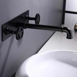 壁付水栓 洗面蛇口 バス水栓 水道蛇口 冷熱混合栓 2ハンドル 黒色