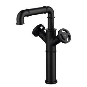 洗面水栓 バス水栓 浴室蛇口 冷熱混合栓 立水栓 2ハンドル 水道蛇口 回転可 黒色