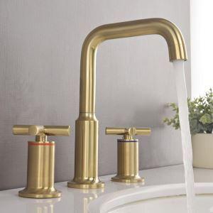 洗面水栓 バス蛇口 立水栓 冷熱混合栓 水道蛇口 3点 回転可 ヘアラインゴールド