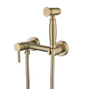 ビデ蛇口 洗浄器用水栓 冷熱混合栓 シャワー蛇口 ヘアラインゴールド