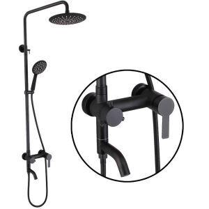 浴室シャワー水栓 シャワーシステム  ヘッドシャワー+ハンドシャワー+蛇口 ステンレス製 黒色
