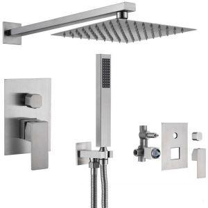埋込形シャワー水栓 シャワーシステム  ヘッドシャワー+ハンドシャワー ステンレス製 2色