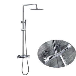 浴室シャワー水栓 サーモスタット式混合栓 シャワーシステム ヘッドシャワー+ハンドシャワー+蛇口 3色