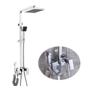 浴室シャワー水栓 シャワーシステム バス水栓 ヘッドシャワー+ハンドシャワー+蛇口+ビデ 2色
