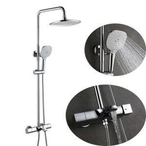 浴室シャワー水栓 サーモスタット式混合栓 シャワーシステム ヘッドシャワー+ハンドシャワー+蛇口 クロム