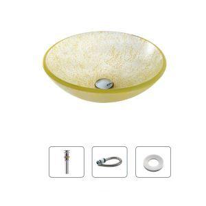 洗面ボール 手洗鉢 洗面器 強化ガラス製 排水金具付 オシャレ 丸型 D30cm