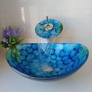 洗面ボウル&蛇口セット 手洗い鉢 洗面器 強化ガラス製 排水金具付 青泡 LC6871WF