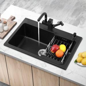キッチンシンク 台所流し台 オーバーシンク アンダーシンク 石英石製 一体成形 黒色 YL5543