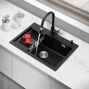 キッチンシンク 台所流し台 オーバーシンク アンダーシンク 石英石製 一体成形 黒色 YL6045