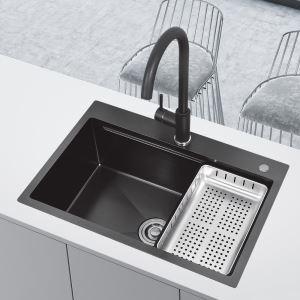 キッチンシンク 台所流し台 オーバーシンク アンダーシンク 黒色 ナノ技術 BT HM6046S