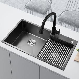 キッチンシンク 台所流し台 オーバーシンク アンダーシンク 2槽 黒色 ナノ技術 BT HM7545A