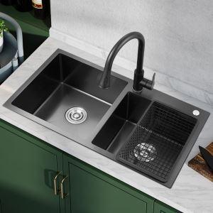 キッチンシンク 台所流し台 オーバーシンク アンダーシンク 2槽 黒色 ナノ技術 BT HM8245